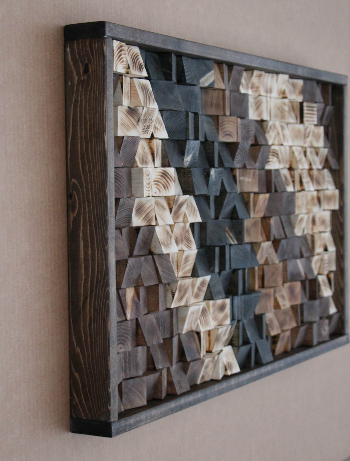 Large Reclaimed Wood Wall Art Decor Headboard Geometric Pattern Mosaic 17x30 Gbandwood Wooden