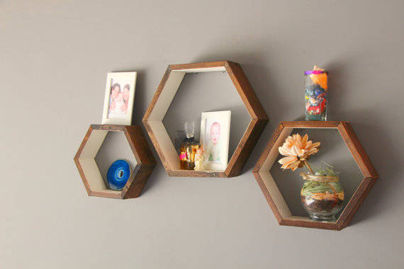 Buy 3 Handcrafted Wooden Shelves Toys Lego Storage Nesting Hexagon Modular Wall Shelf Home Decor Bathroom Mid Century Modern