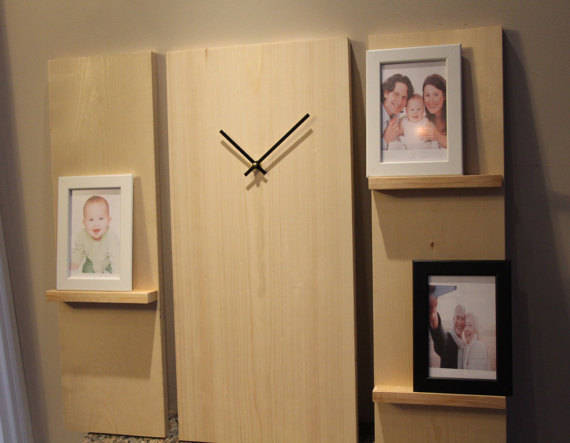 Buy Large Modern Wall Clock, Wooden 3 piece set with photo frames ...