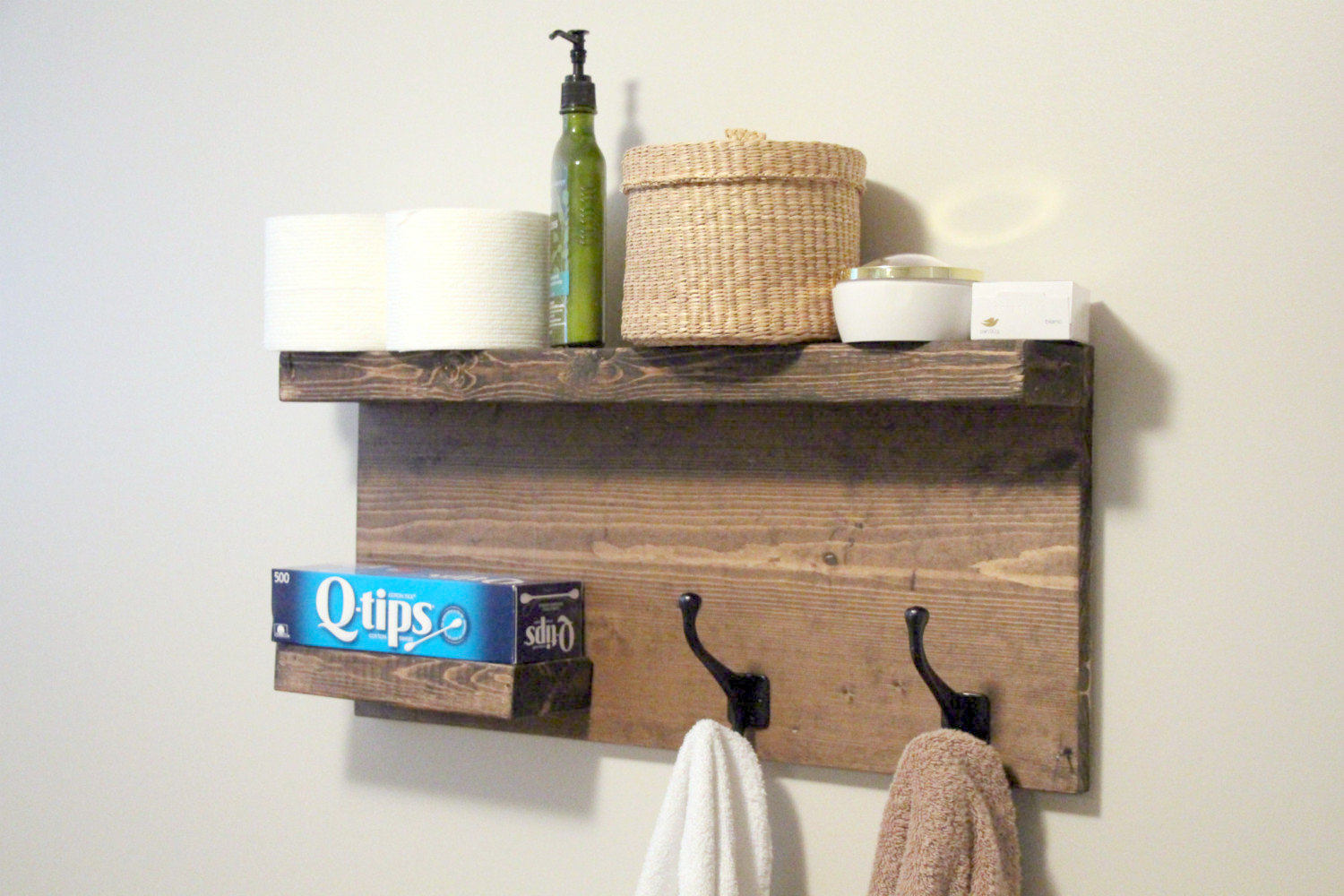 large modern bathroom 2 tier floating shelf towel rack bronze robe hooks rustic wood modern coat rack rustic bathroom decor