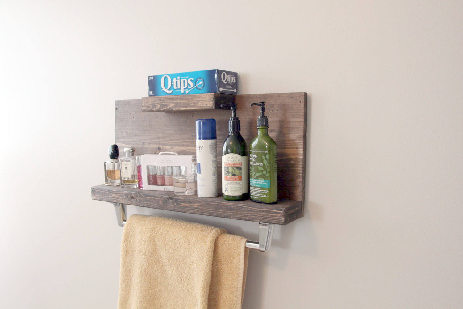 Buy Modern Rustic 2 Tier Bathroom Shelf With Towel Bar Floating