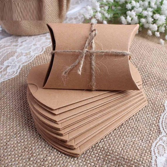 Buy 100 Kraft Pillow Boxes Wedding Favor Box Candy Gift Favour Eco Recyclable