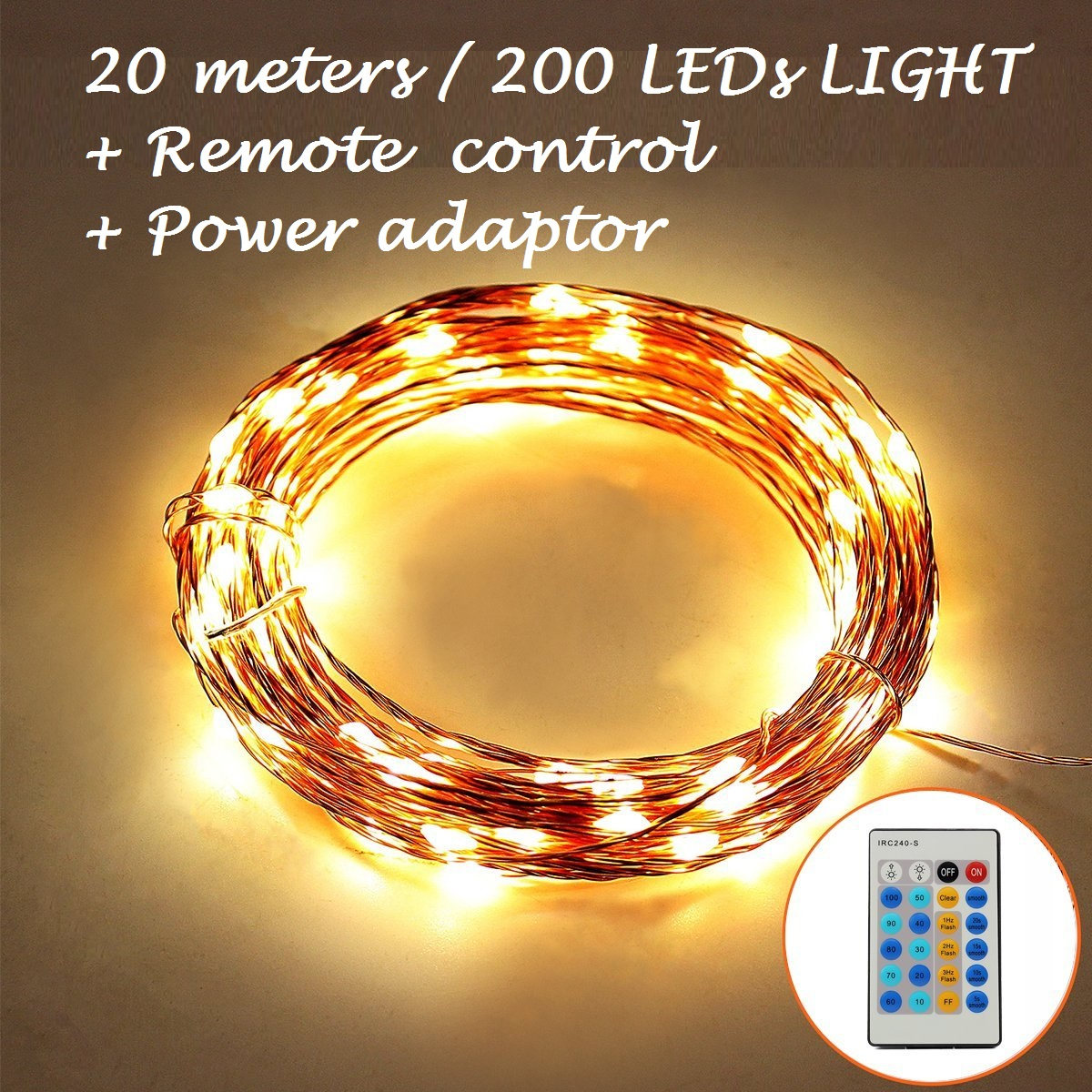 Buy 65 Feet/20M 200LEDs Copper String Wire, Wedding Decorations ...